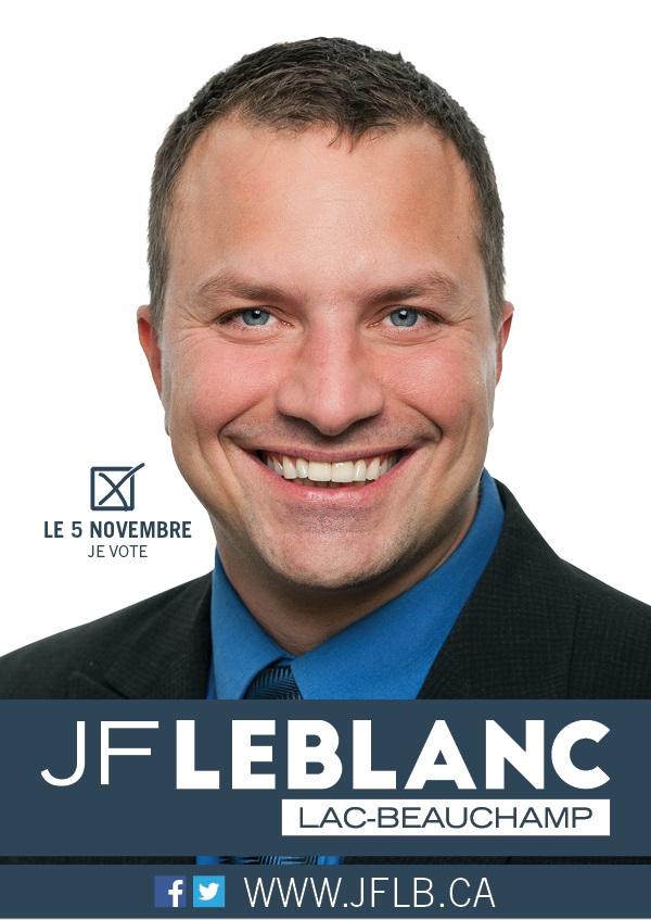 Carton de campagne 2017 de Jean-François LeBlanc conseiller municipal district du Lac-Beauchamp Gatineau